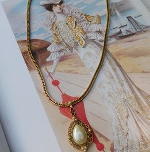 "1928 Jewelry - ""1928"" Costume Gold Victorian Inspired Necklace"